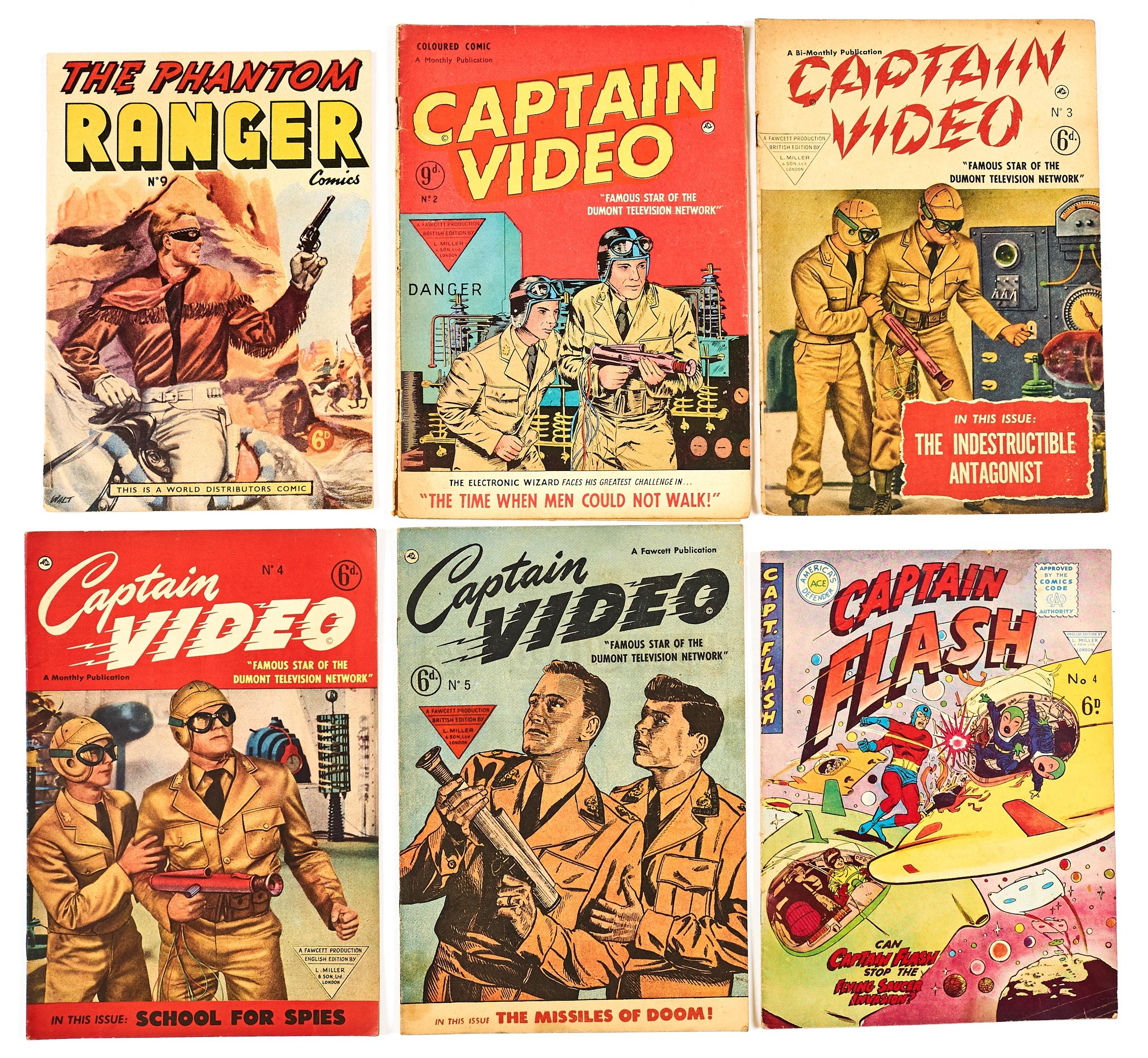 Lot 58 - L. Miller Mix + (1950s). Captain Flash 4, Captain Video 2-5, Phantom Ranger 9 [vg-/vg+] (6)