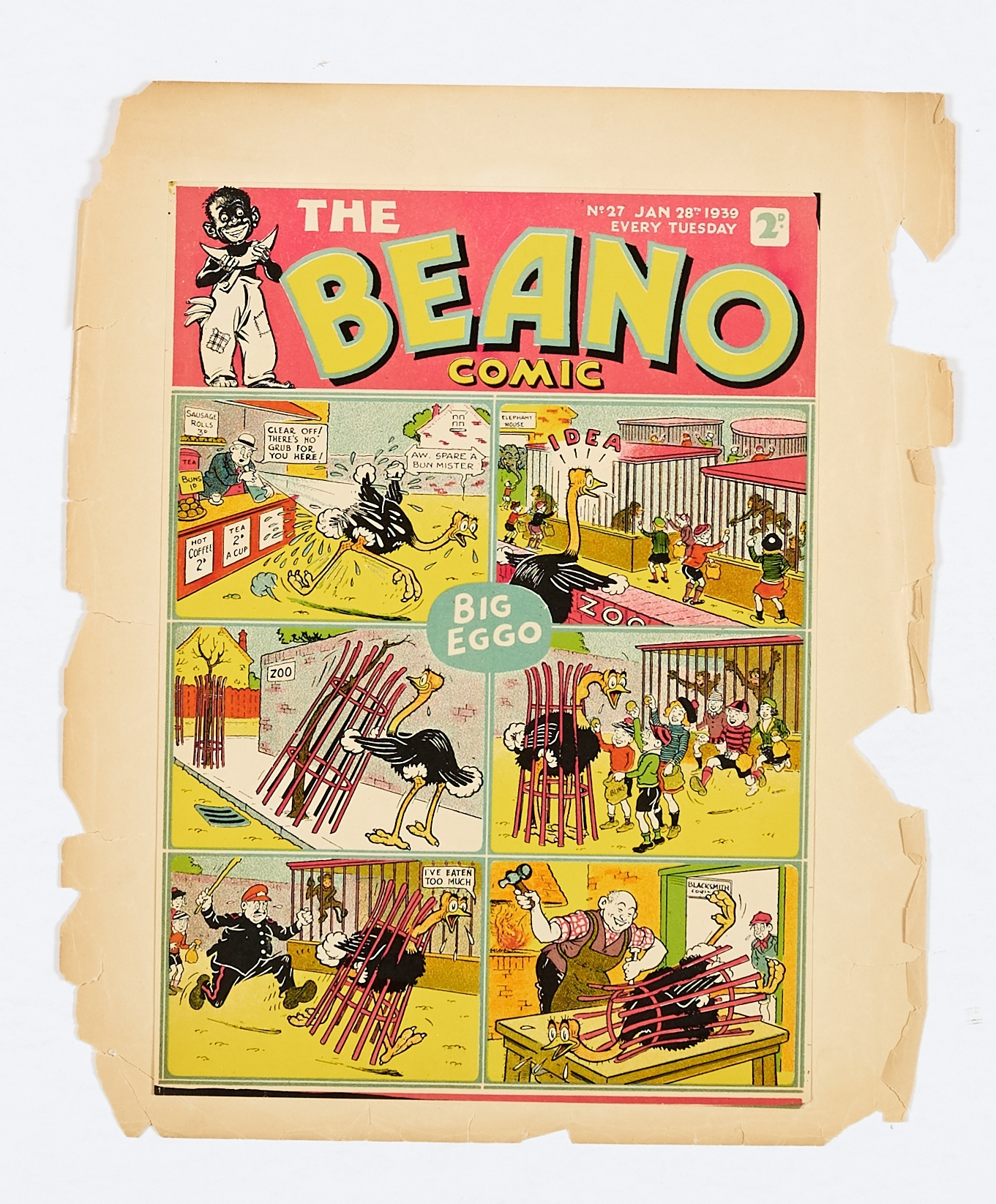 Lot 21 - Beano No 27 (1939). Front cover Printer's proof with pink title background and light green panel