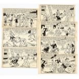 George Formby original artwork in seven consecutive story panels by George Wakefield from Film