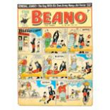 The Beano/Biffo the Bear original front cover artwork (1953) drawn and signed by Dudley Watkins