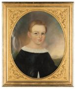 Lot 295 - 19th Century Portrait Painting of a Young Boy. Oil on canvas. Original gilt wood frame. A few