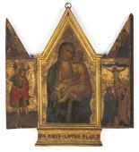 Lot 263 - Early Russian Icon Triptych. Tempera on wood. Depicting Mary and Child. Some minor wear and loss.