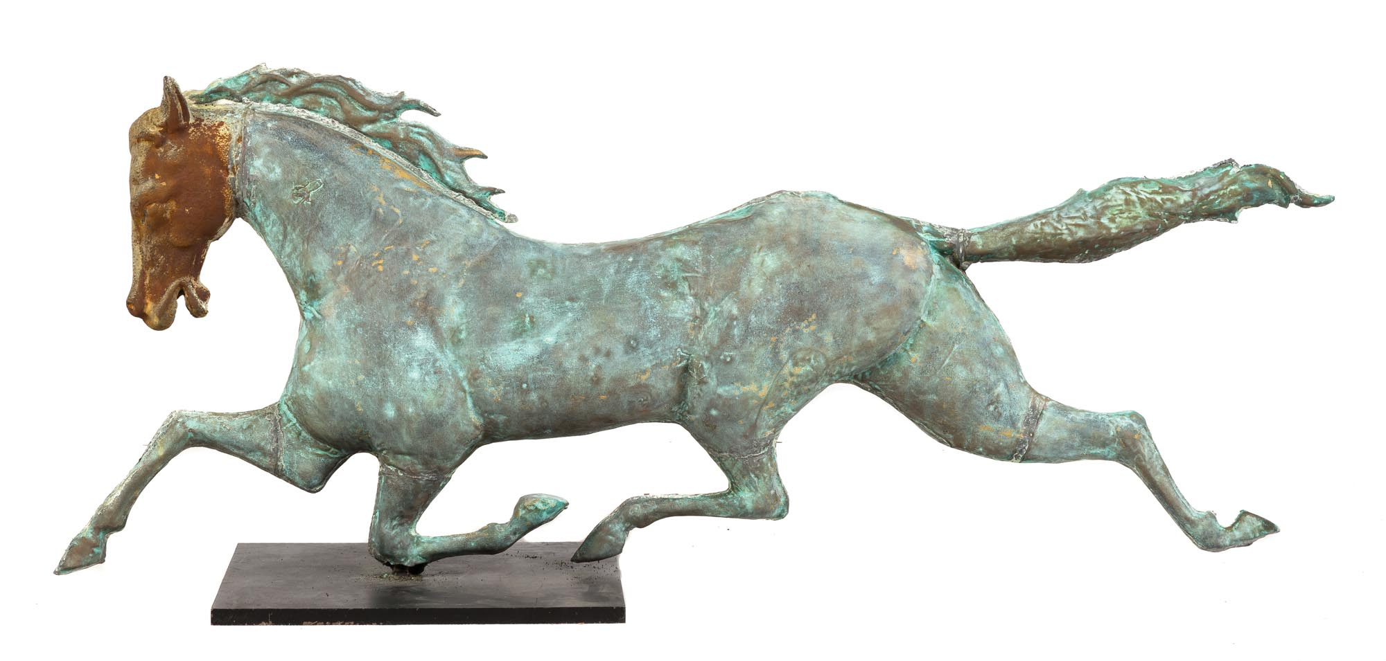 Lot 296 - 19th Century Copper Running Horse Weather Vain. With cast iron head. Tail has been reattached. Ht.