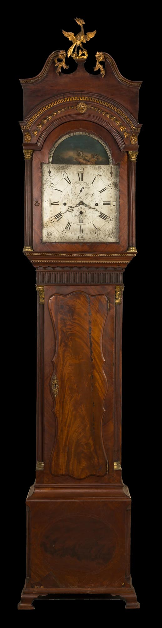 Lot 84 - Bristol English Musical Tall Case Clock. Chariot rocking movement, silver engraved dial, with carved
