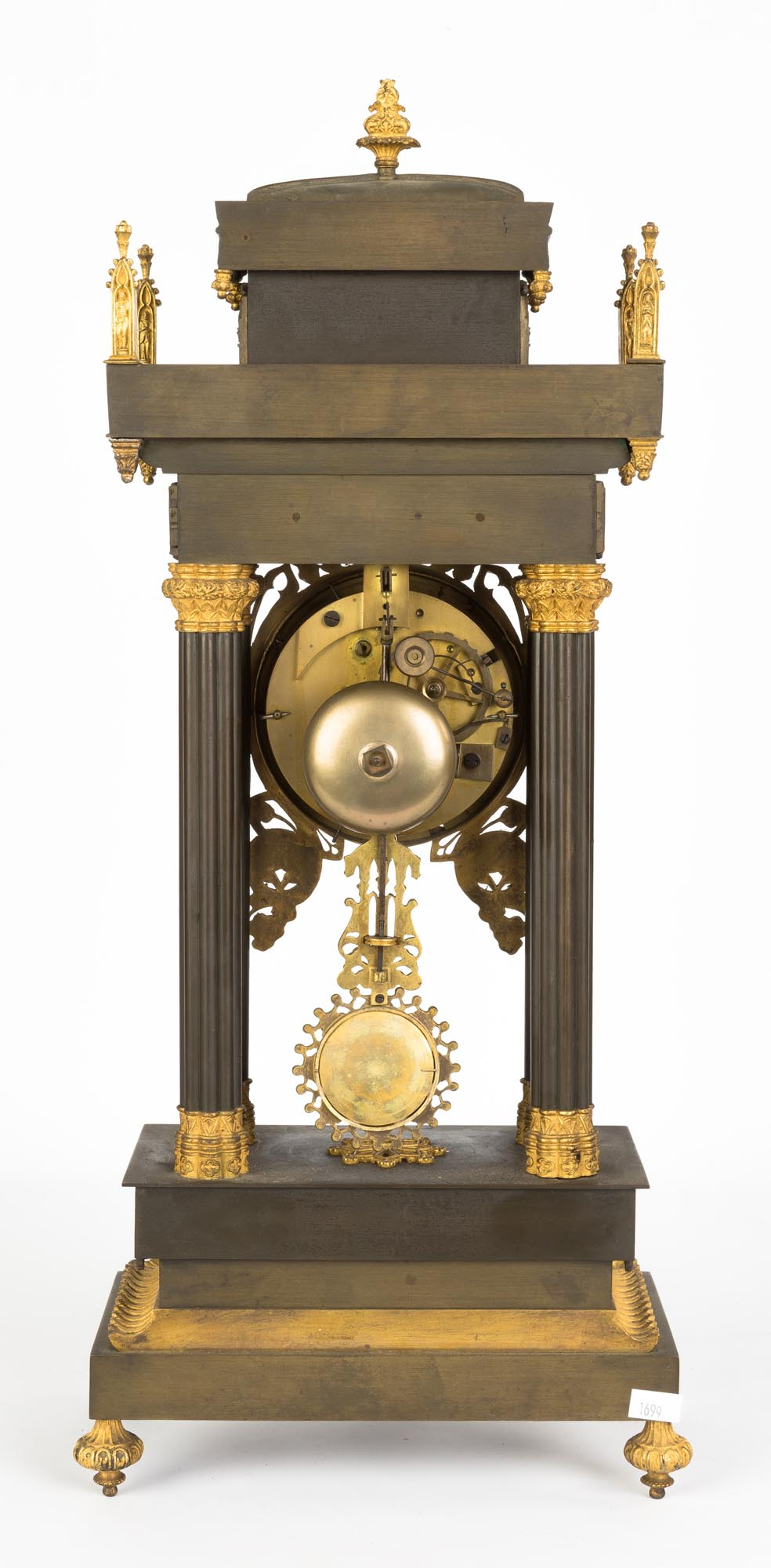 Lot 264 - French Gothic Bronze Shelf Clock. Mid 19th century. Bronze and gilt bronze with silvered metal dial.