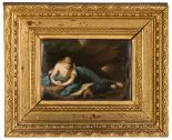 Lot 265 - KPM Plaque of Mary Magdalene. 19th century. Stamped KPM (on reverse). Hand painted with period