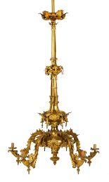 Lot 211 - American Five Arm Gasolier Hanging Fixture. American five light gas chandelier (Gasolier). By