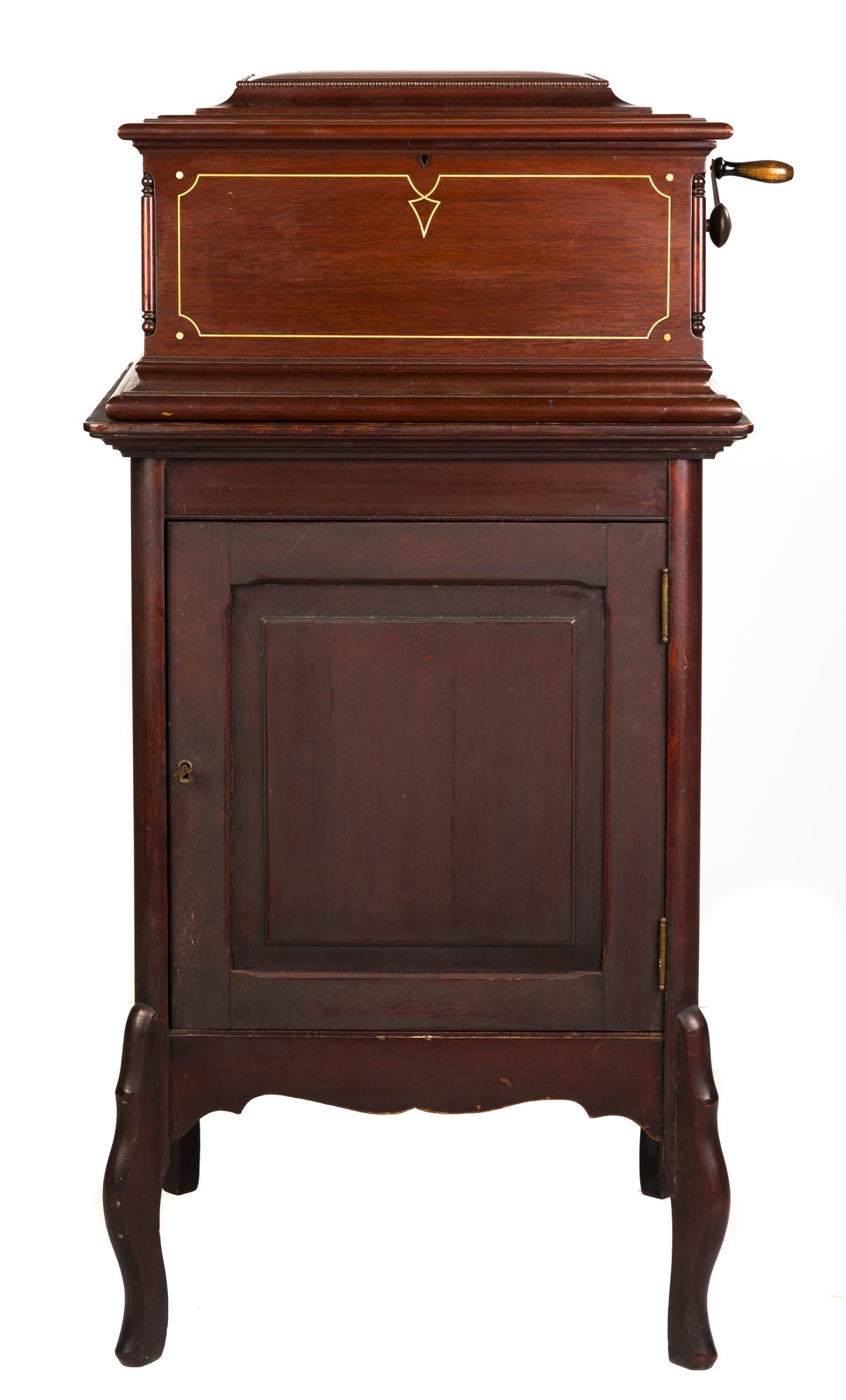 """Lot 217 - Regina Double Comb Disc Music Box & Stand. circa 1900. (33) 15 1/2"""" disks. Inlaid mahogany case."""