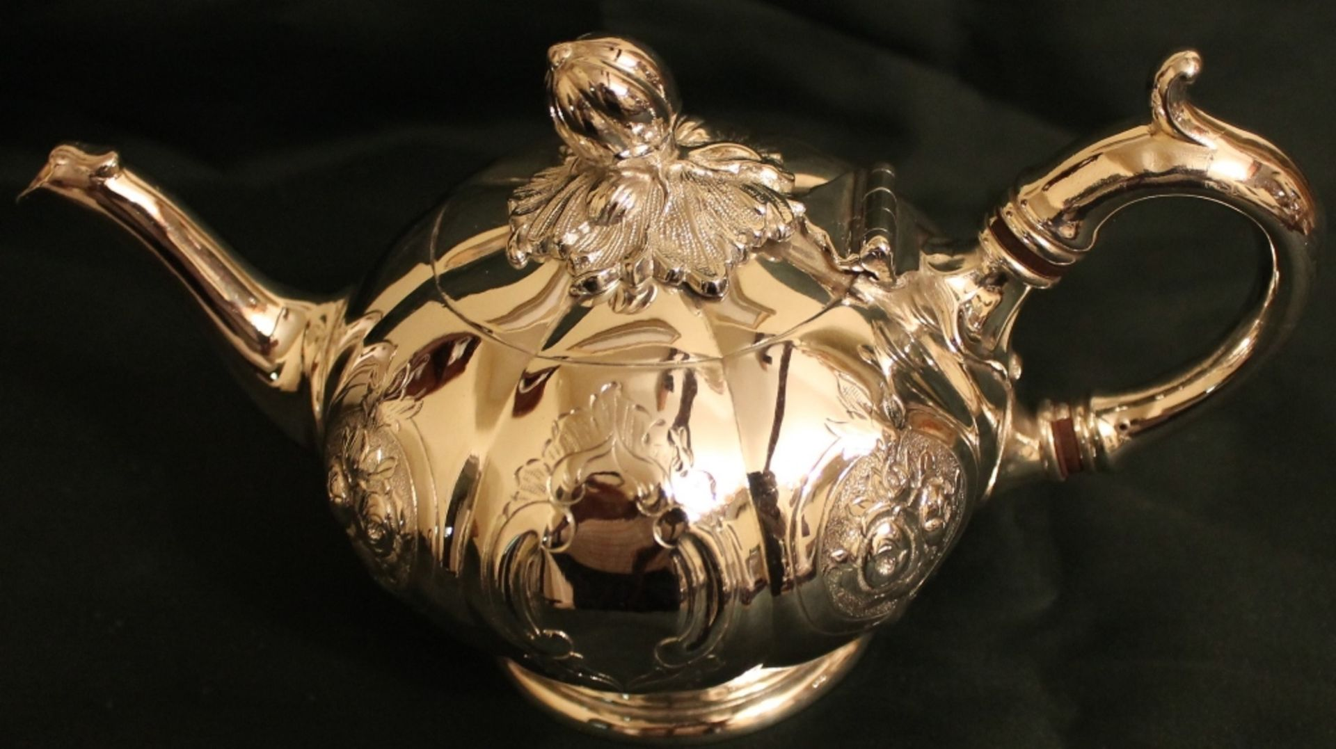 Lot 347 - SMALL SILVER PLATED TEAPOT WITH FLORAL DECORATION