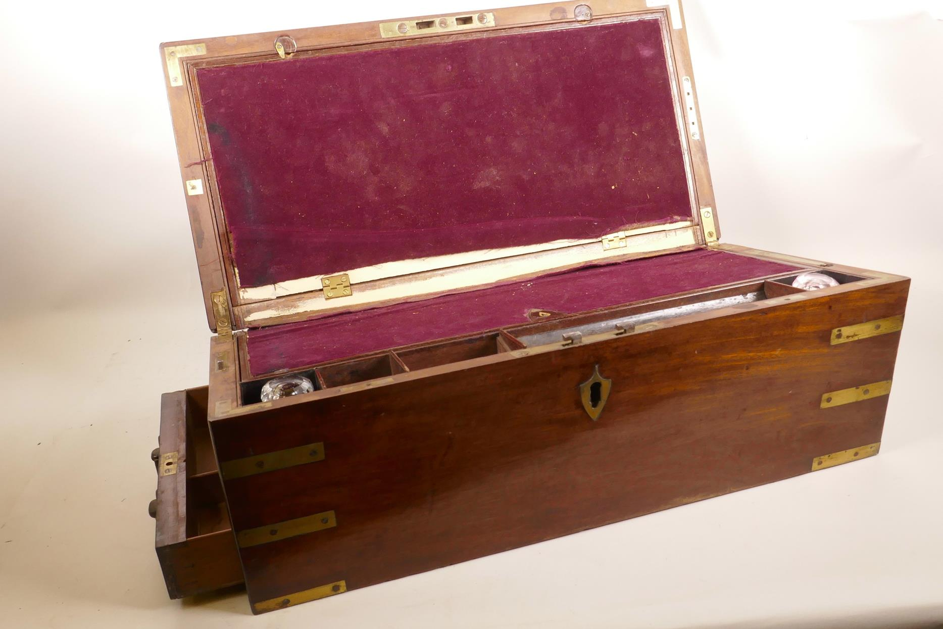 Lot 9 - A Regency mahogany campaign writing slope by William Dobson of 166, Strand, London; early C19th,
