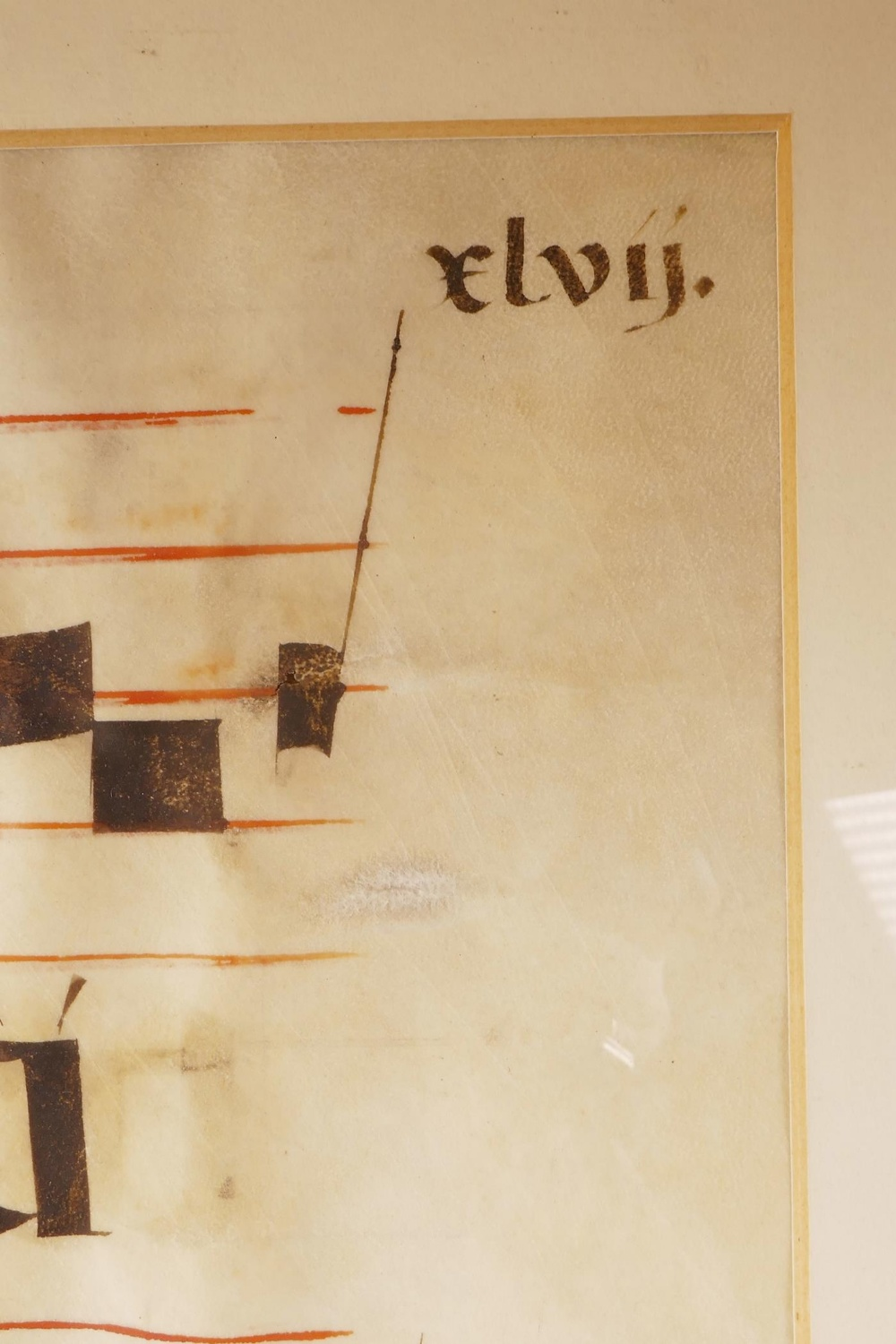 Lot 18 - A sheet of music from the C16th, hand coloured on vellum, likely produced in a medieval monastery as