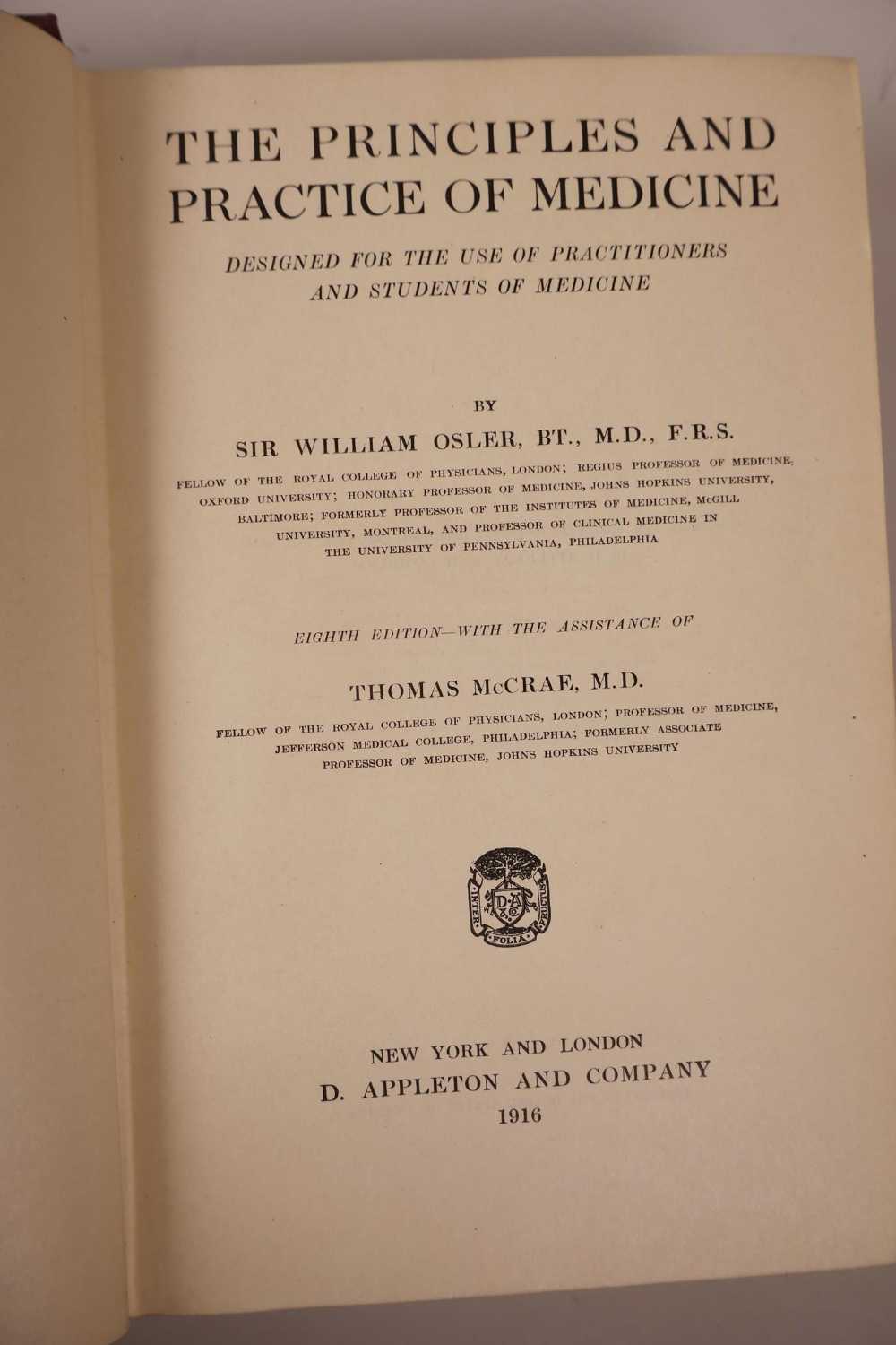 Lot 26 - Of medical interest: William Osler (1849-1919), 'The Principles and Practice of medicine', seventh