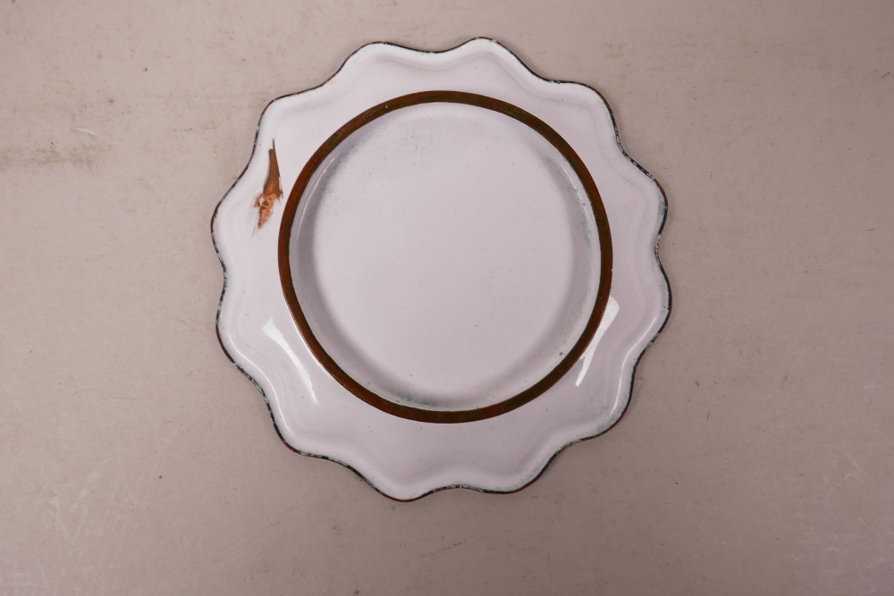 """Lot 16 - A Canton enamel dish with a frilled rim, decorated with a toad, 5"""" diameter"""