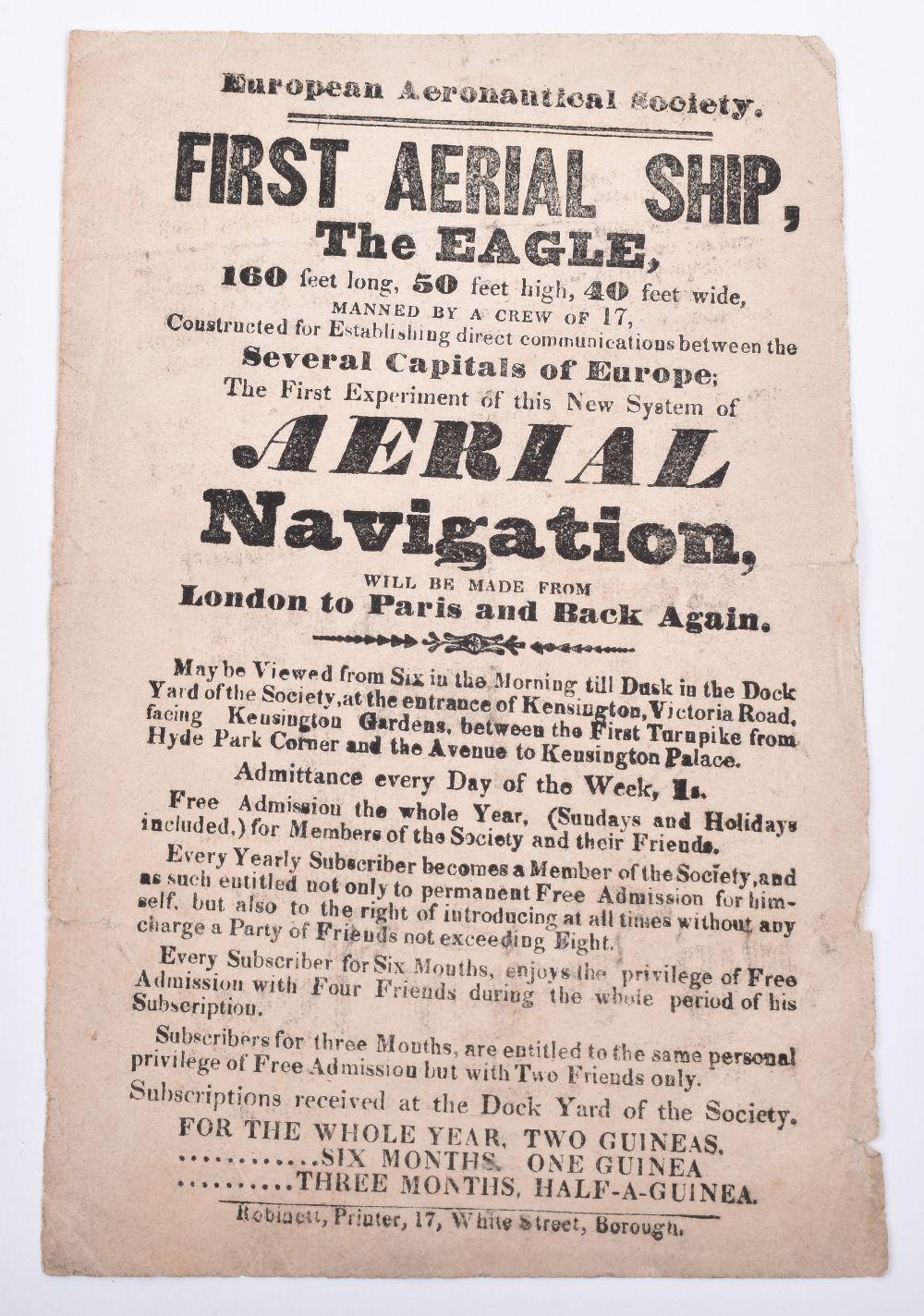 Lot 1 - First Aerial Ship the Eagle, Original Handbill from 1835