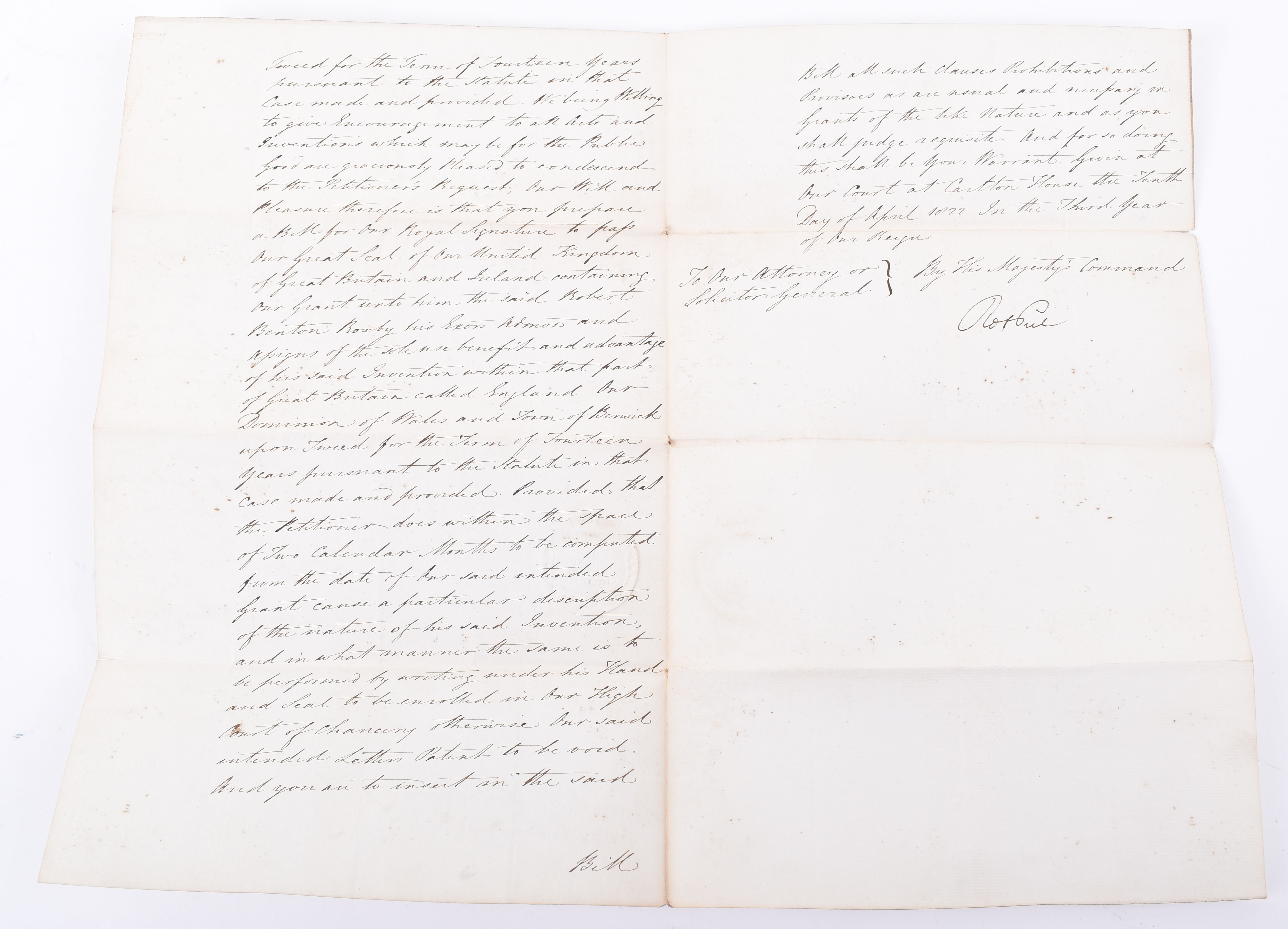 Lot 59 - Robert Benton Boxby Gent. Document, issued by the British Government