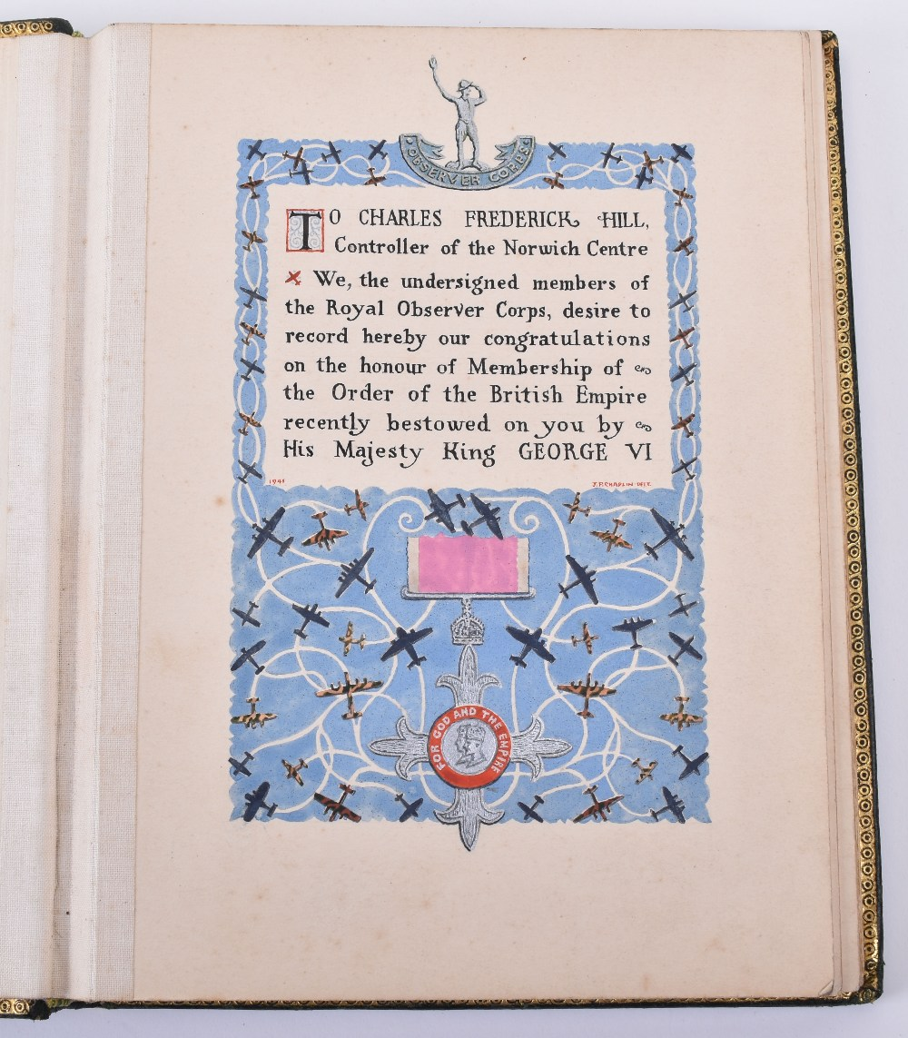 Lot 50 - Royal Observer Corps, Controller Norwich Centre. Charles Frederick Hill, Presentation Leather Bound