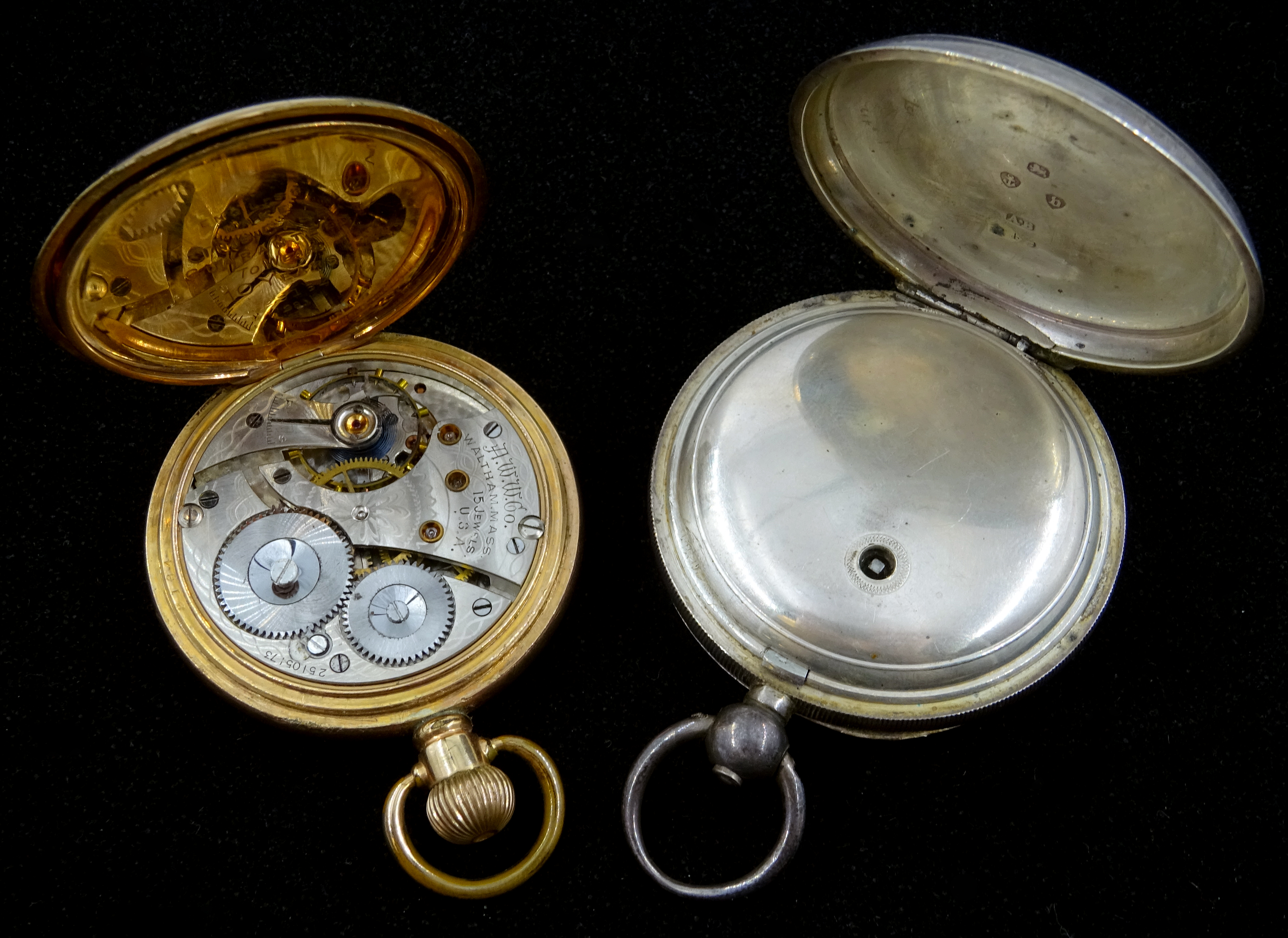 Lot 1160 - Victorian silver pocket watch, key wound by Waltham Mass,