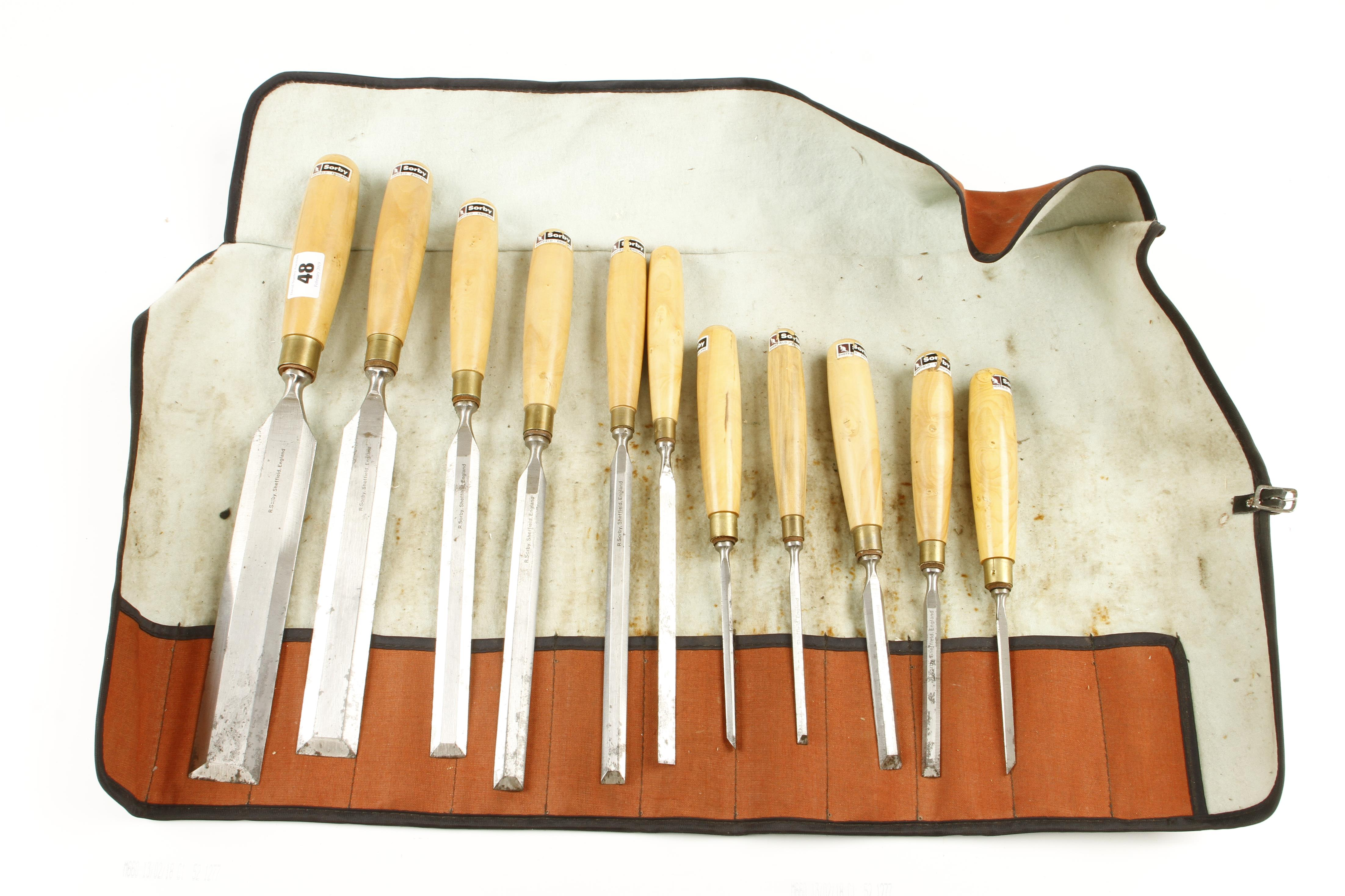 Lot 48 - A set of 11 bevel edge chisels by SORBY with orig trade labels,