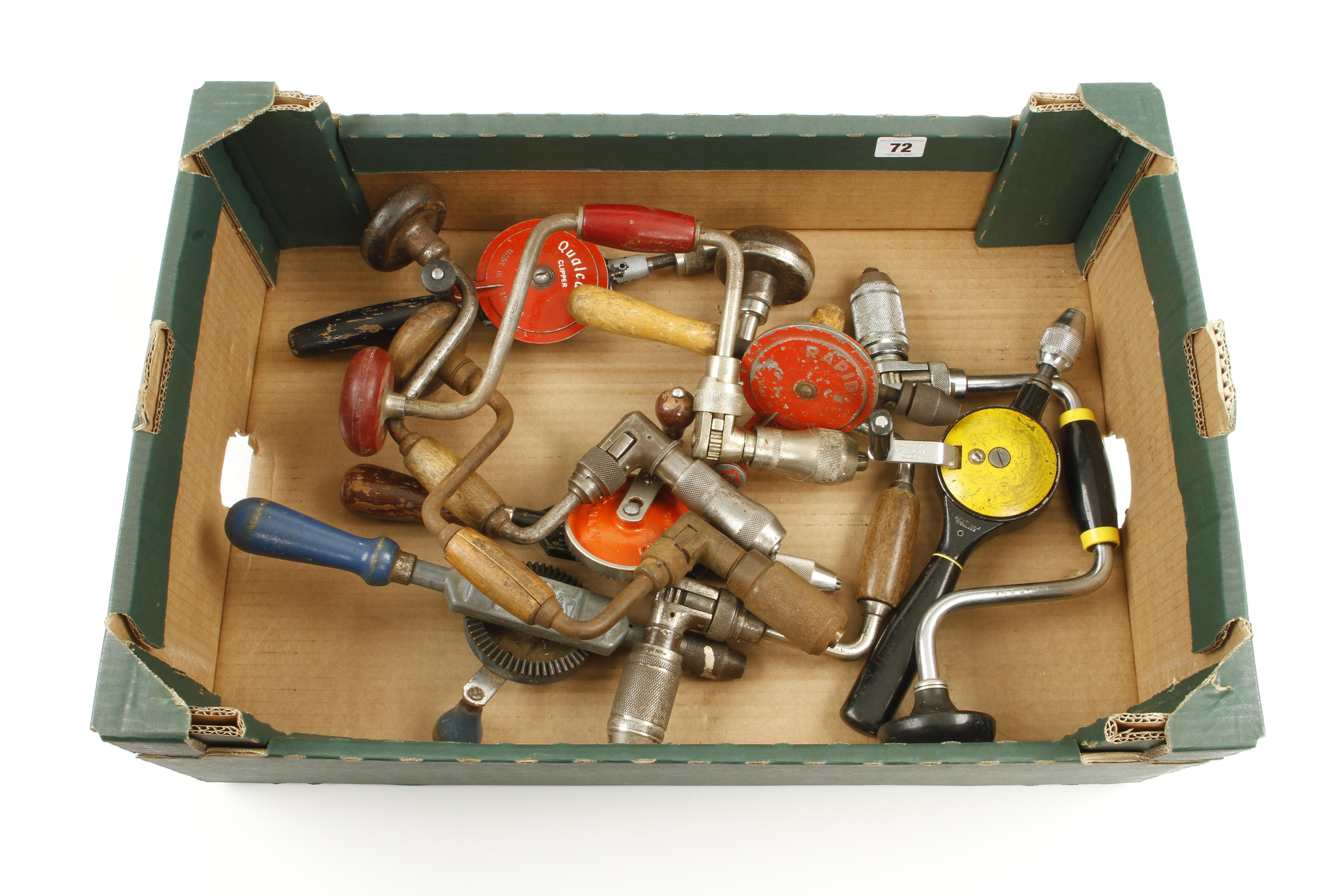 Lot 72 - Five ratchet braces and five hand drills G