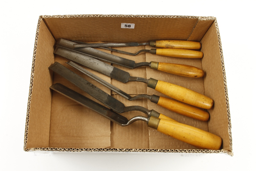 Lot 58 - A set of seven cranked gouges by SORBY with boxwood handles G+