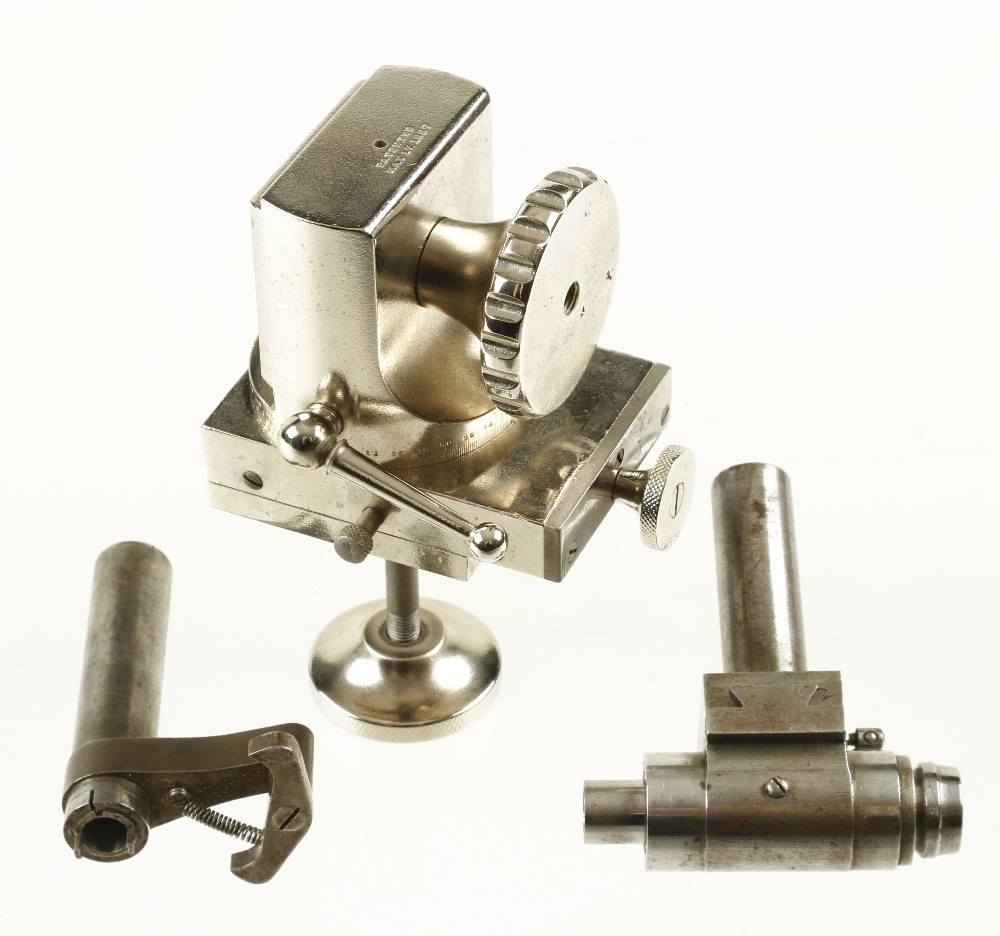 Lot 829 - A fine quality watchmaker's lathe by the RIVETT Lathe Mfg Co with numerous orig attachments fitted