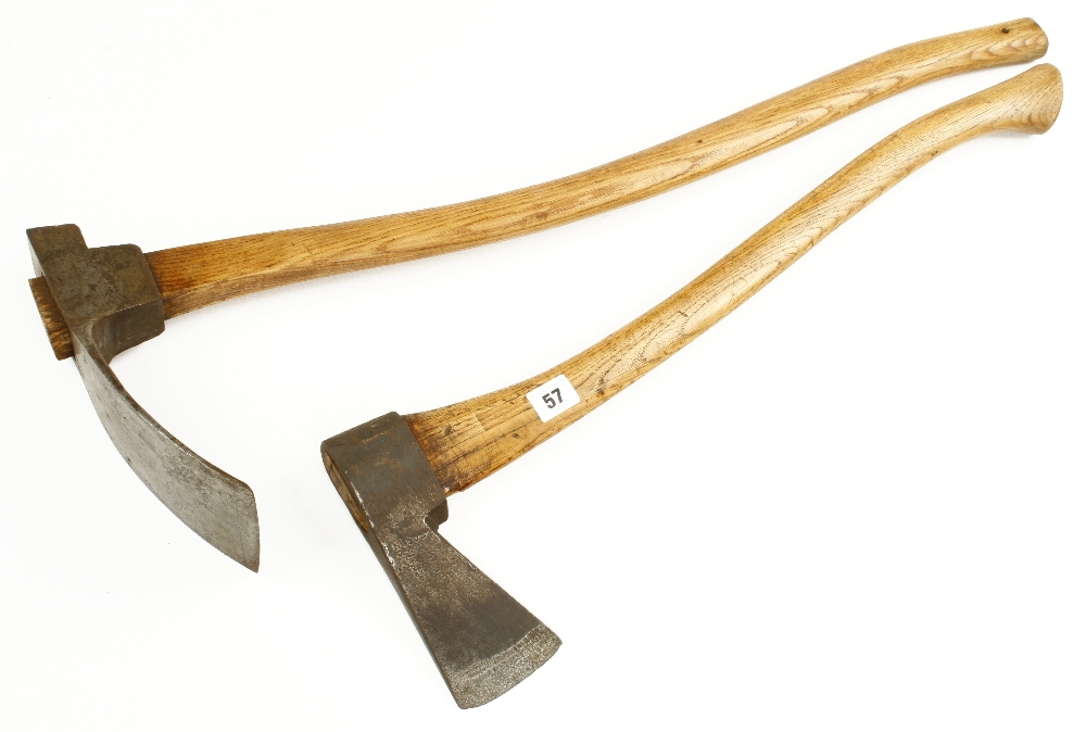 Lot 57 - A carpenter's adze by MARPLES and a small masting axe by GREAVES G+