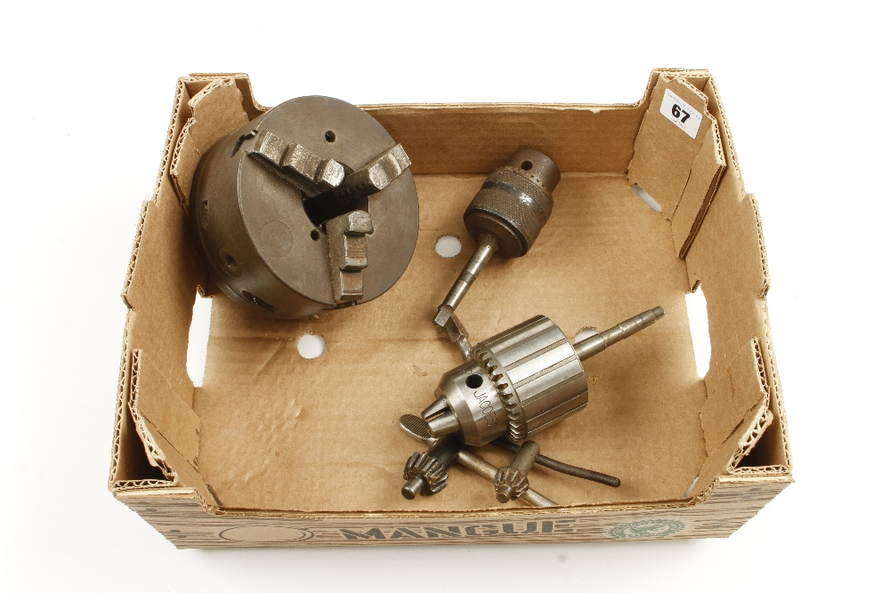 Lot 67 - A large three jaw chuck and two drill chucks by JACOB and METABO G