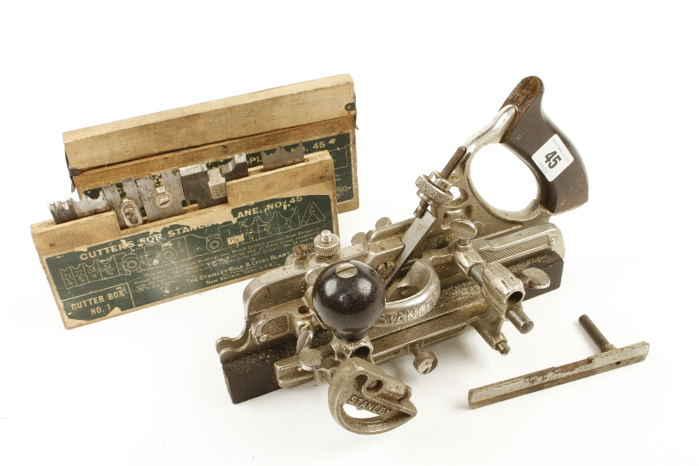 Lot 45 - A STANLEY No 45 with two boxes of cutters G