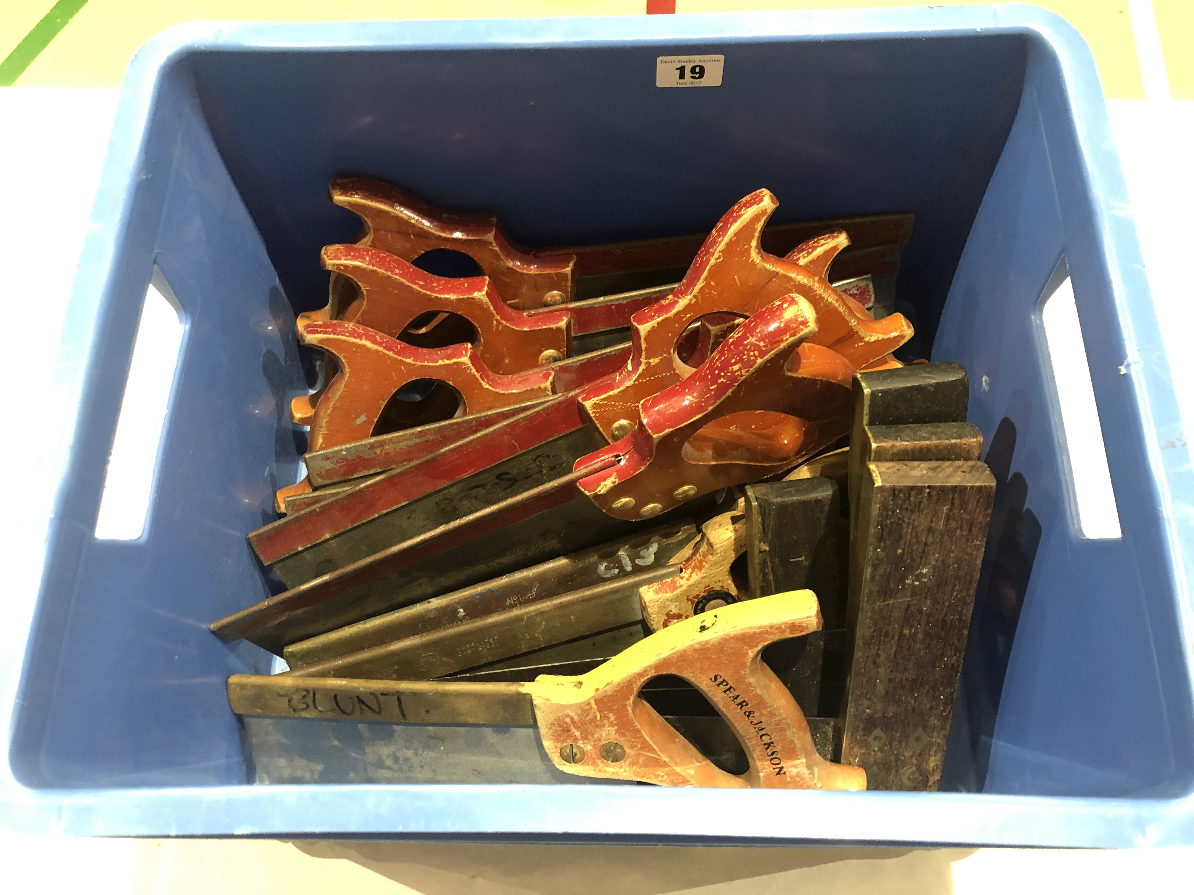 Lot 19 - Ten tenon saws and five squares G