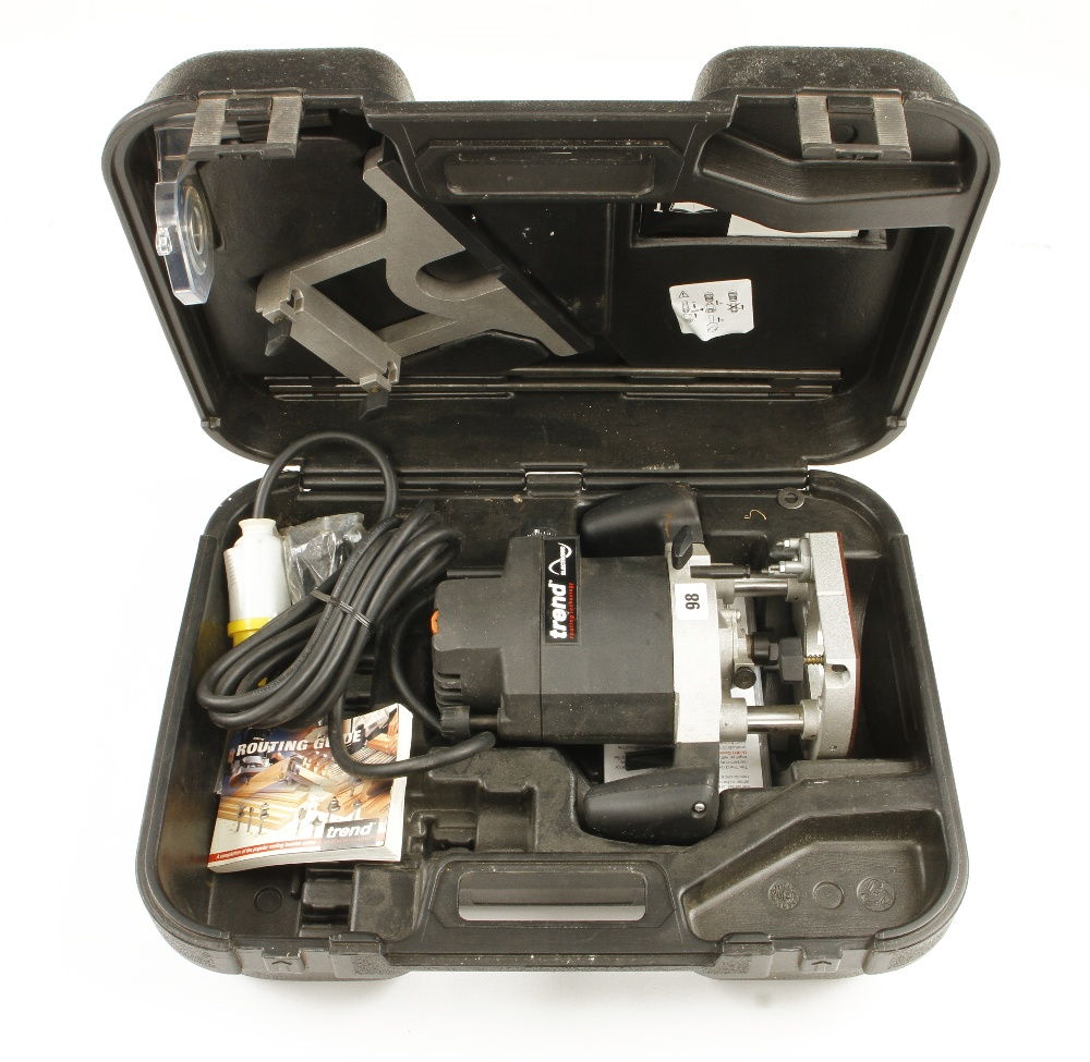 Lot 98 - A little used TREND T9 router with fittings and instruction in orig case 110v Pat tested F
