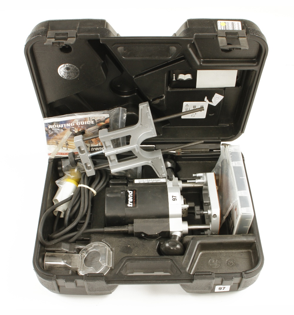 Lot 97 - A little used TREND T5 router with attachments and instructions in orig case 110v Pat tested F