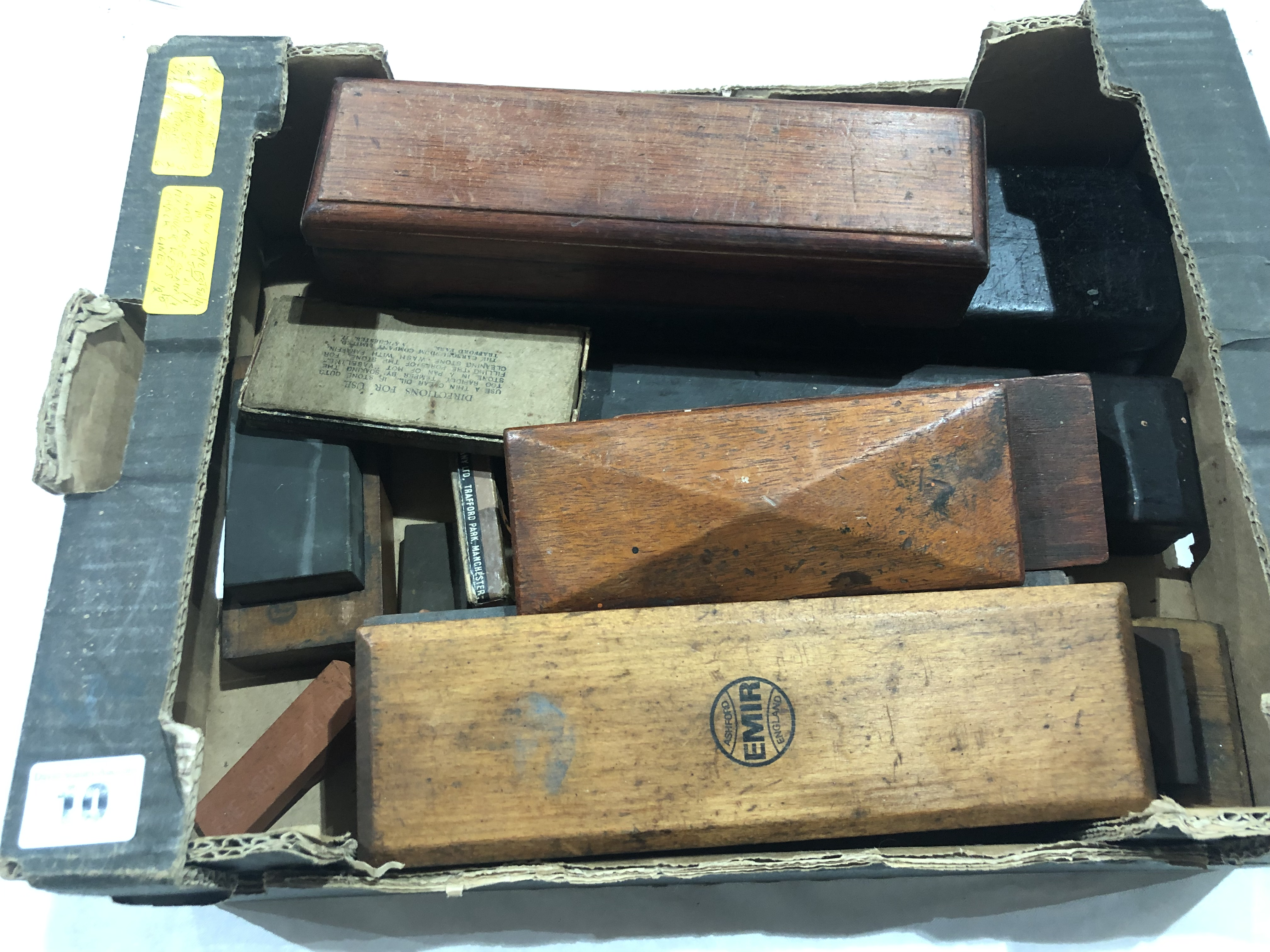 Lot 10 - Six boxed oilstones and others G+