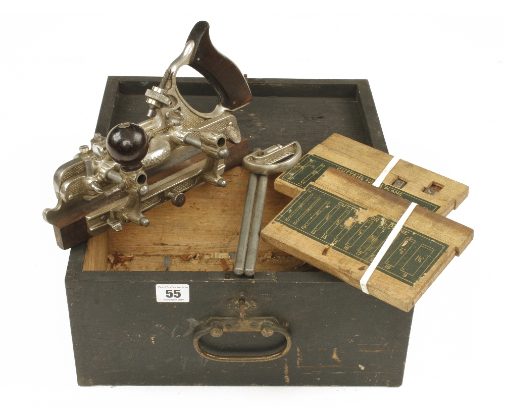 Lot 55 - A little used STANLEY No 45 with two boxes of cutters G++
