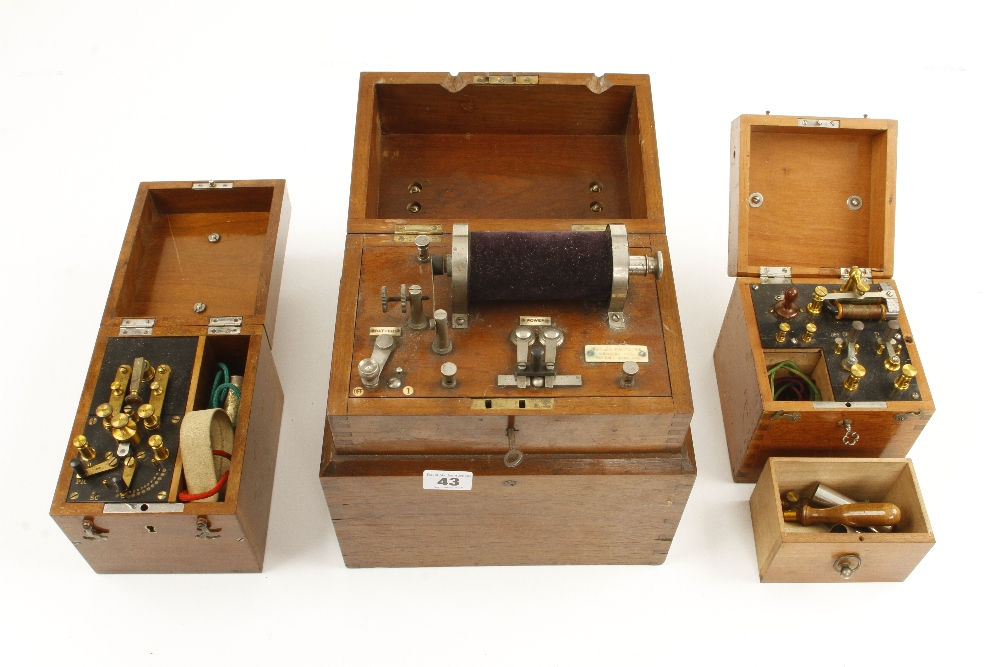 Lot 43 - Three electrical therapy machines in orig mahogany cases G+
