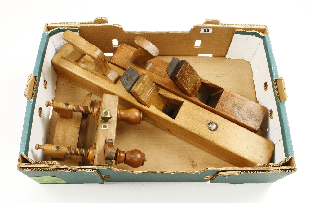 Lot 83 - A screwstem plough (some damage to nuts) a jack plane and a jointer G