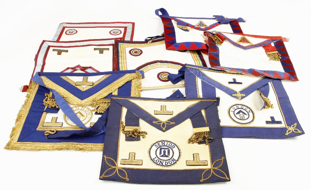 Lot 62 - 15 Masonic aprons plus 5 various collars and sashes G