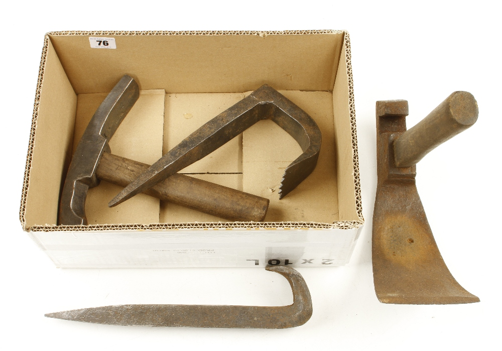 Lot 76 - Two coopers adze and two block hooks G
