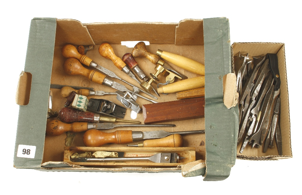 Lot 98 - A set of centre bits etc and other small tools G