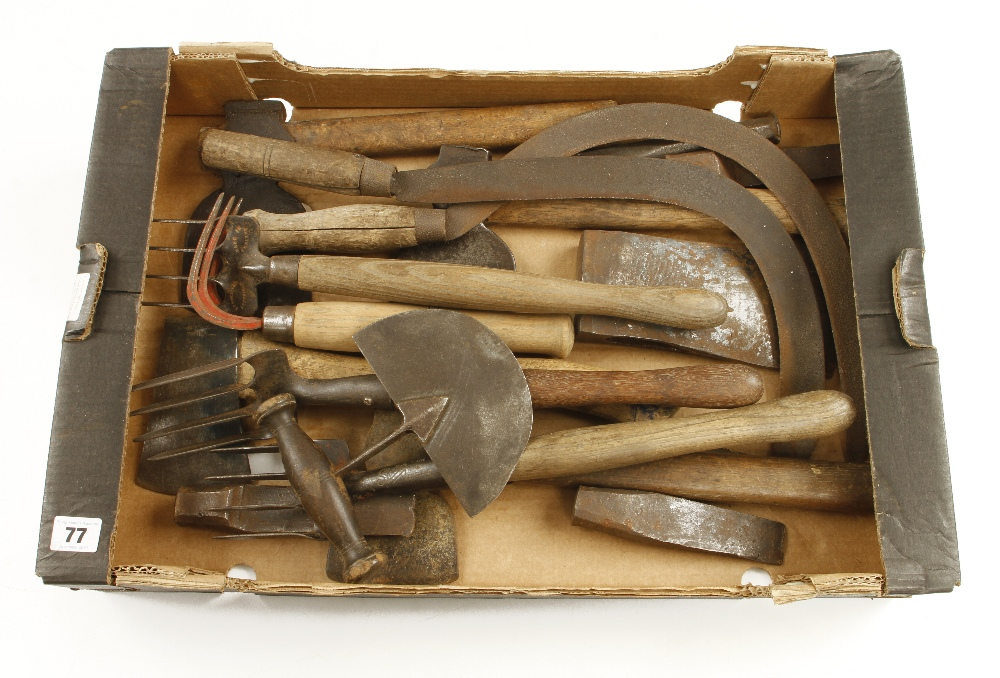 Lot 77 - Four small axes and six other tools G