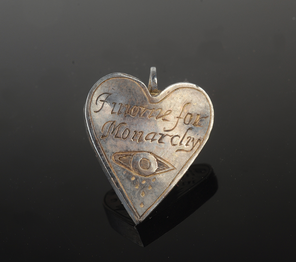 A Royalist heart shaped silver locket, - Image 2 of 4