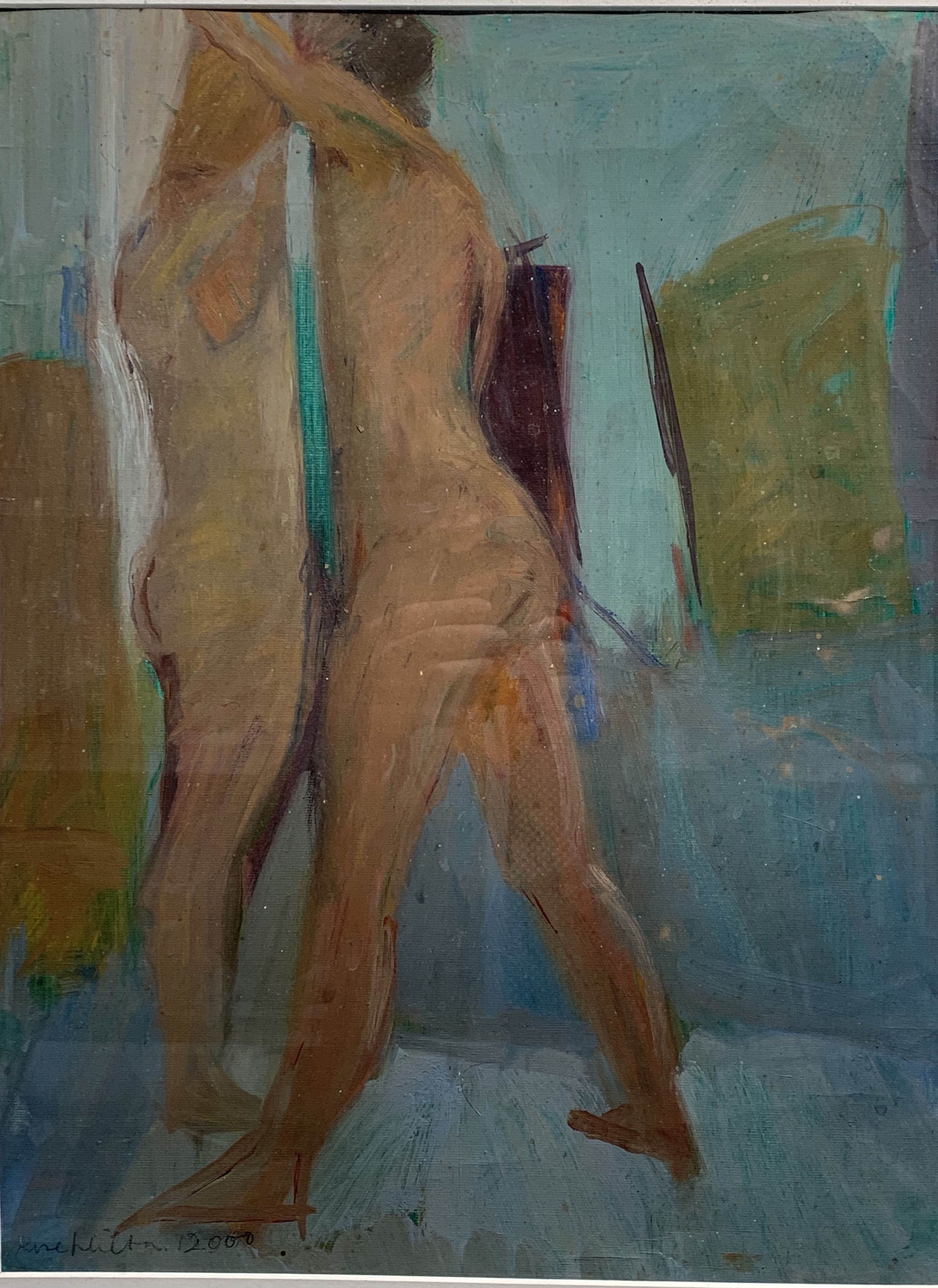 Rose HILTON (1931-2019) Standing Nudes Oil on canvas paper Signed and dated 2000 Studio seal to
