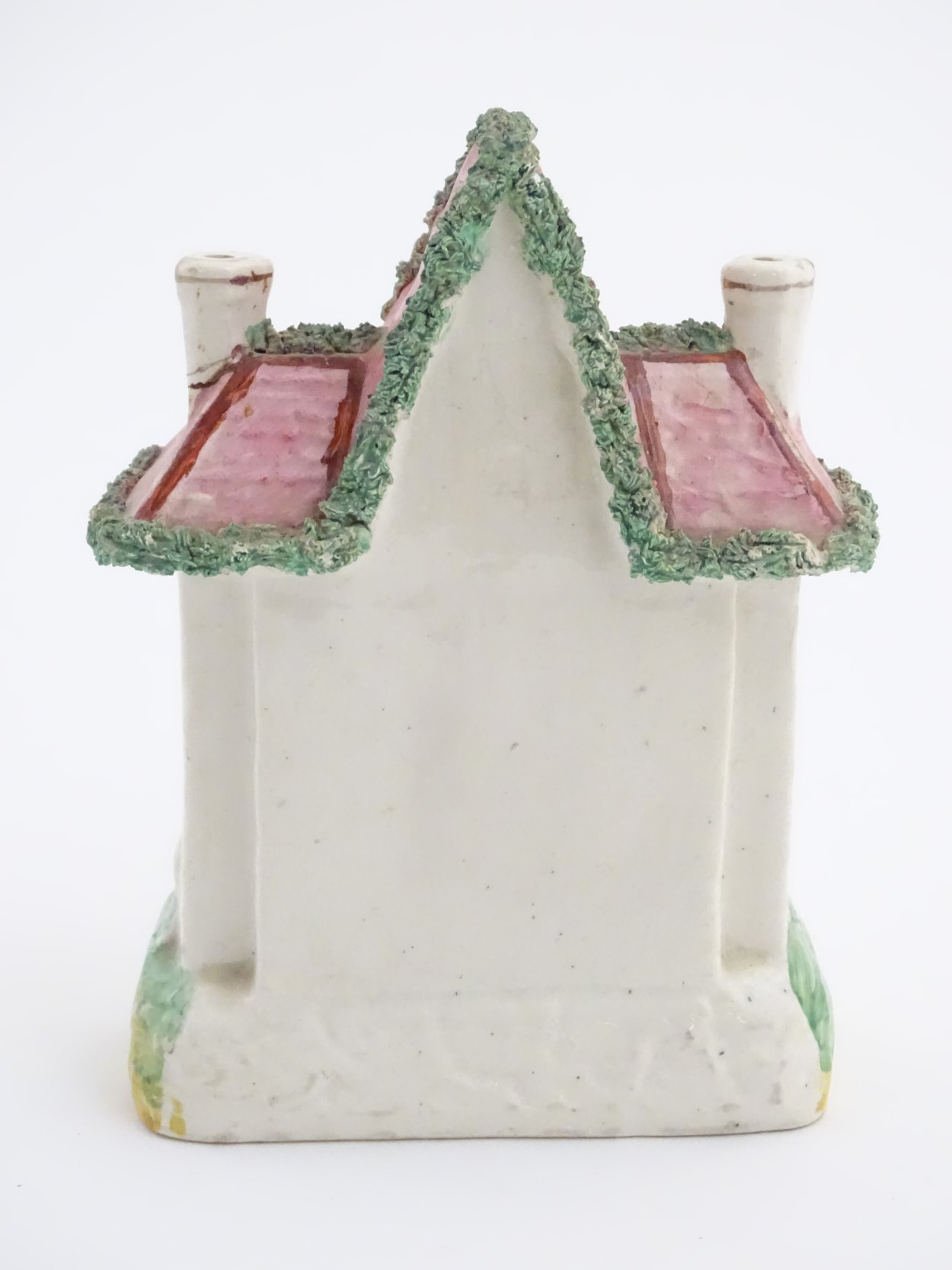 """Lot 52 - A Staffordshire pottery model of a flat back house. Approx. 8 ½"""" high x 6"""" wide."""
