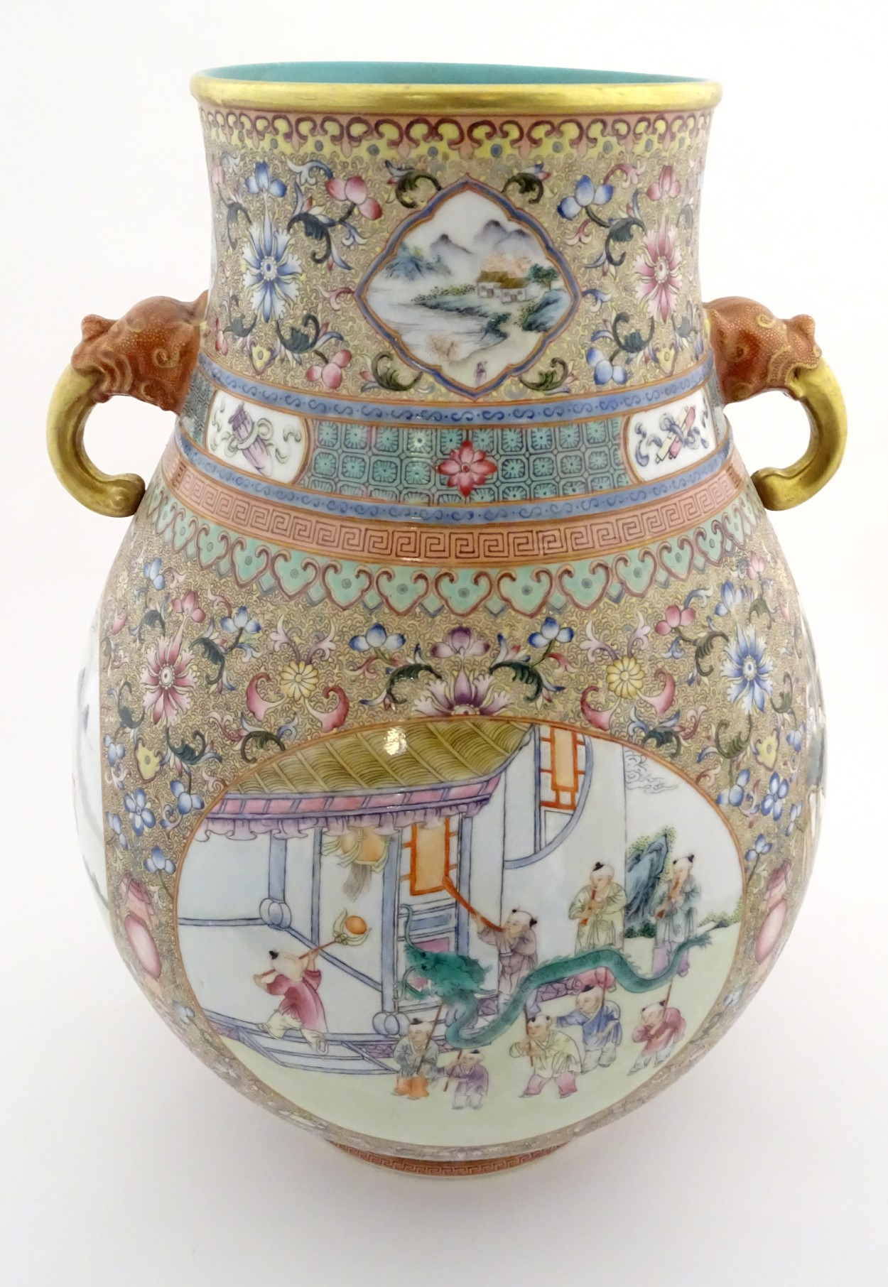 Lot 46 - A large Chinese famille rose 'Niutou Zuo' twin handled vase,