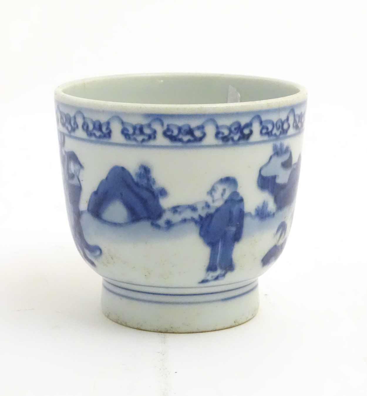 Lot 6 - A Chinese blue and white pot depicting three figures in a landscape. Approx.