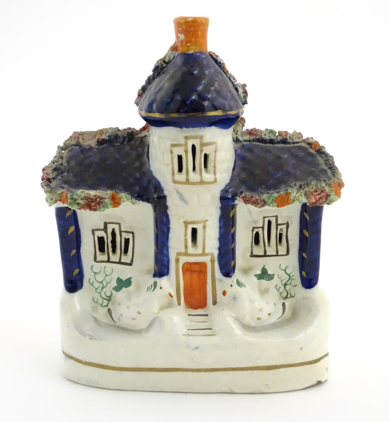 "Lot 48 - A Staffordshire pottery model of a flat back house. Approx. 6 1/2"" tall x 4 1/2"" wide."