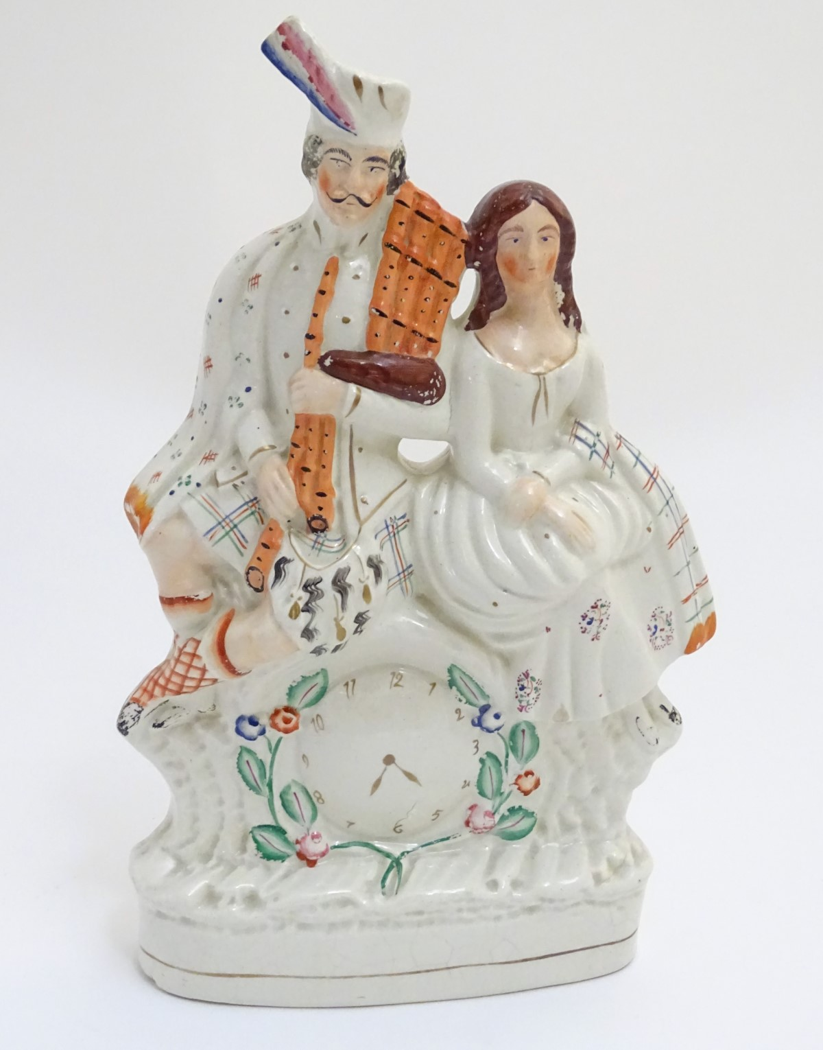 Lot 44 - A 19thC Staffordshire flatback figural group of Bonnie Prince Charlie and Flora Macdonald seated