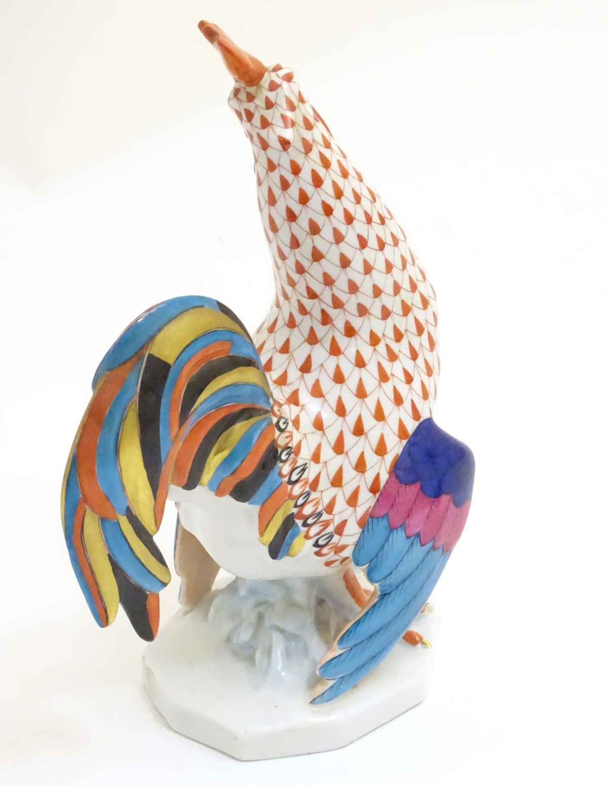 "Lot 52 - A hand painted Herend porcelain model of a colourful cockrell with gilt highlights. Approx. 9"" high."