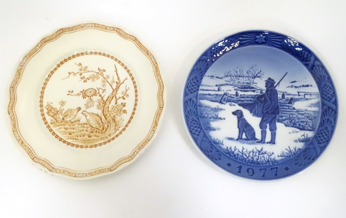 Lot 19 - Two game / shooting plates comprising a Royal Copenhagen 1977 Immervad Bridge plate and a Furnivals