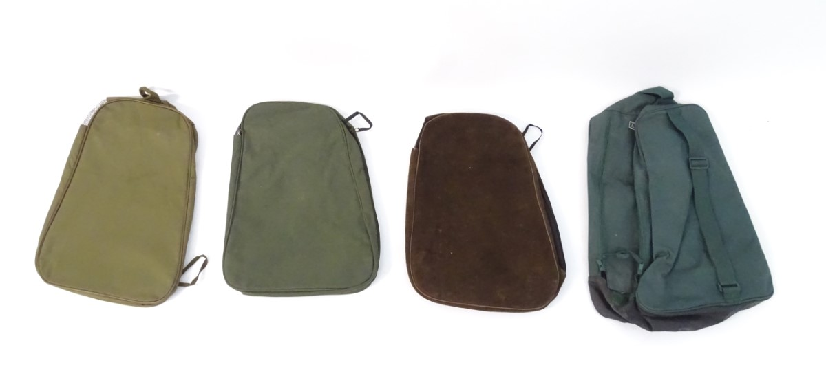 Lot 9 - Four assorted wellington boot bags, variously of suede, canvas and synthetic construction,