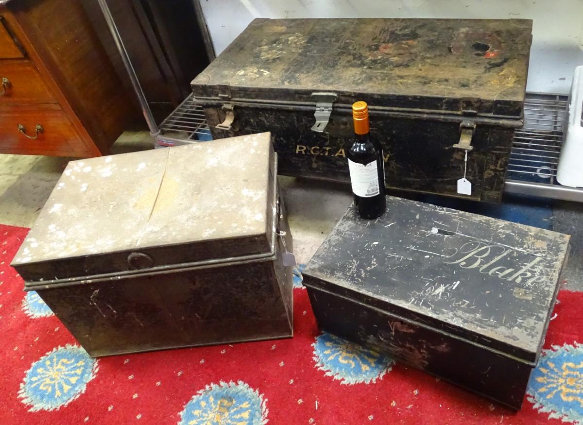 Lot 49 - Three vintage metal document trunks,